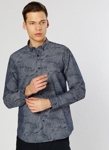 Limon Company Desenli Uzun Kollu Gömlek İndigo
